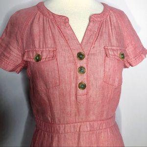 Boden Linen Weekender Herringbone Dress Size 6